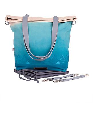 Mara Mea 4 in 1 Diaper Bag Desert Hues, Petrol Dip Dye - Water repellent Cotton Canvas (multi-functional & multipocket) Diaper Changing Bags & Accessories