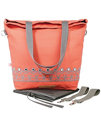 Mara Mea 4 in 1 Diaper Bag  Eye Candy, Peach – Water repellent Cotton Canvas (multi-functional & multipocket) Diaper Changing Bags & Accessories
