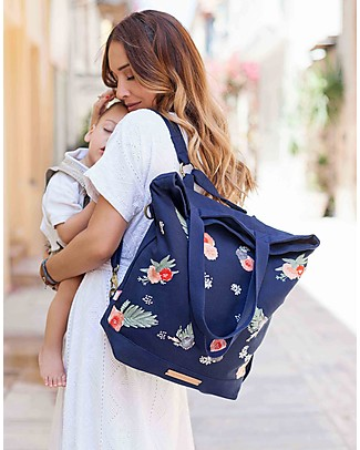 Mara Mea 4 in 1 Diaper Bag  Hotel Flora, Navy - Water repellent Cotton Canvas (multi-functional & multipocket) Diaper Changing Bags & Accessories