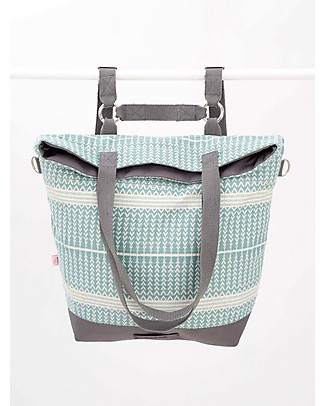 Mara Mea 4 in 1 Diaper Bag Ice Ice Baby, Iceblue ZigZag - 100% Cotton (multi-functional & multipocket) Diaper Changing Bags & Accessories