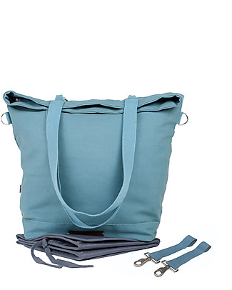 Mara Mea 4 in 1 Diaper Bag Wisdom Dancer, Aqua Sea – Water repellent Cotton Canvas (multi-functional & multipocket) Diaper Changing Bags & Accessories