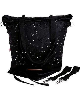 Mara Mea 4 in 1 Diaper Bag  Wishing Star, Black – Water repellent Cotton Canvas (multi-functional & multipocket) Diaper Changing Bags & Accessories