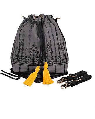 Mara Mea Bucket Diaper Bag 3-in-1 Golden Willow, Grey/Black Tie Dye - Waxed canvas Diaper Changing Bags & Accessories