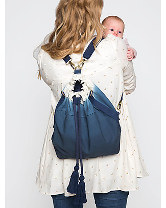 Mara Mea Bucket Diaper Bag 3-in-1 Great Spirit Blue Dip Dye - Waxed canvas Large Backpacks