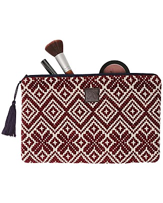 Mara Mea Cosmetic Pouch Old Wood - Bordeaux - 100% Cotton Makeup Bags & Pouches