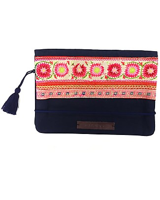 Mara Mea Diaper Clutch Daydream – Red/Pink – 100% Cotton Canvas hand embroidered  Diaper Changing Bags & Accessories