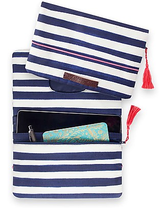 Mara Mea Diaper Clutch Having a Picnic -Navy/White Stripes - Cotton Canvas Diaper Changing Bags & Accessories