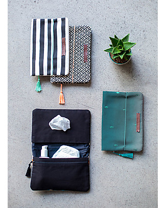 Mara Mea Diaper Clutch Modern Hippie -Black/White Stripes - Cotton Canvas Diaper Changing Bags & Accessories