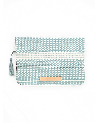 Mara Mea Diaper Clutch Pelican Family - Iceblue ZigZag - Cotton Canvas Diaper Changing Bags & Accessories