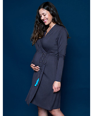 Mara Mea Feather Love Pregnancy and Nursing Dress, Grey - Elasticated viscose Dresses