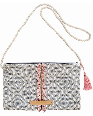 Mara Mea Hand Bag Glitter Party - Blue&White - 100% Cotton Messenger Bags