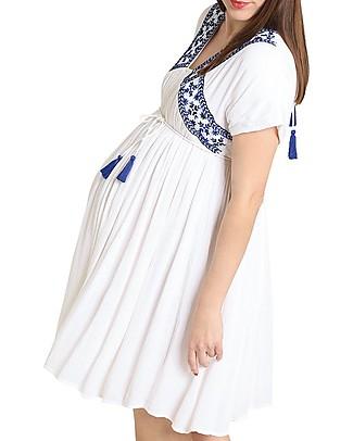 Mara Mea Memories Made, Maternity and Nursing Maxi Dress, White - Super Soft Viscose! Special Occasion