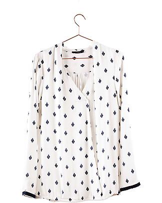 Mara Mea Mosaic Maze, Maternity Blouse, White - 100% crepe Shirts And Blouses