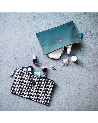 Mara Mea Pouch Cactus Garden, Aqua Dip Dye - Cotton Canvas, 26x18 cm Makeup Bags & Pouches