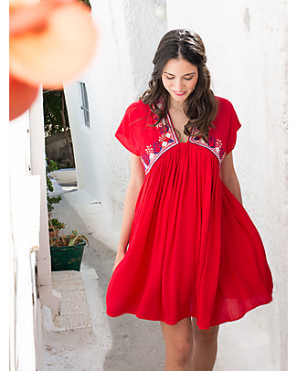 Mara Mea Salty Hair, Maternity and Nursing Maxi Dress, Red - Super Soft Viscose! Dresses