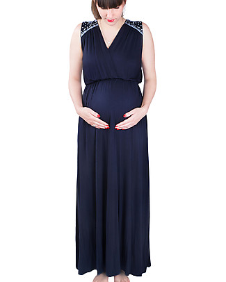 Mara Mea Soul Sister, Maternity and Nursing Maxi Dress, Navy - Super Soft Viscose! Dresses