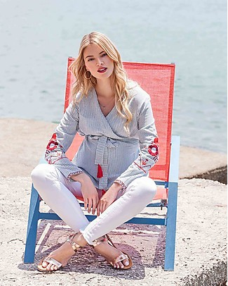 Mara Mea Staycation, Maternity and Nursing Blouse, Blue Striped - 100% cotton Shirts And Blouses