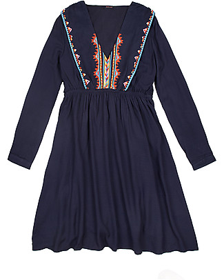 Mara Mea Wild & Free, Maternity and Nursing Dress, Navy with Embroidery - With concealed nursing panel! Dresses