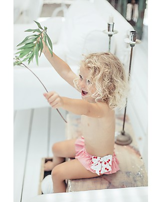 Maria Bianca Bikini for Girls, with Red Bows - Cute Cherry Pattern! Swimming Trunks