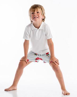 Maria Bianca Boy Swim Shorts, Light Blue Stripes/Popsicles Swimming Trunks