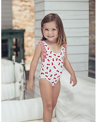 Maria Bianca Cherries Bathing Suit - Striped Bow at the Back! Swimsuits
