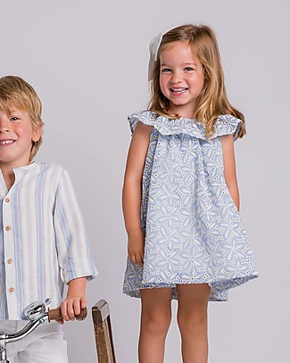Maria Bianca Embroidered Dress with Large Frill, Light Blue - 100% cotton Special Occasion