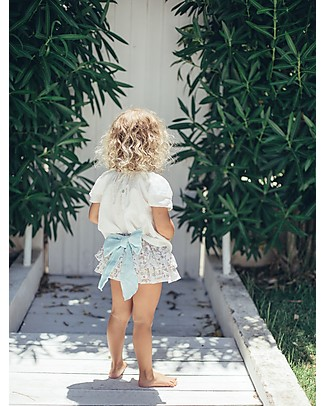 Maria Bianca Floral Bloomers with Turquoise Bow - 100% Cotton Shorts