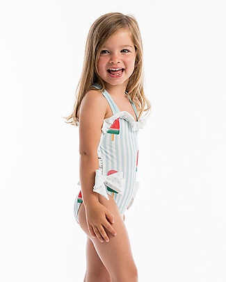 Maria Bianca Girl Bathing Suit with Interlaced Back and Bows, Lighe Blue Stripes/Poscicol Swimsuits