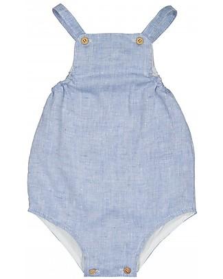 Maria Bianca Linen Effect Romper, Blue - 100% cotton Dungarees