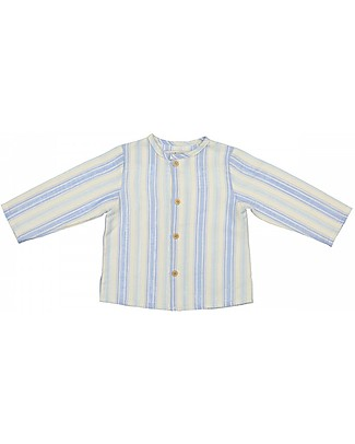 Maria Bianca Long Sleeves Boy Shirt with Wooden Buttons, Light Blue/Beige Stripes - 100% cotton Shirts And Blouses