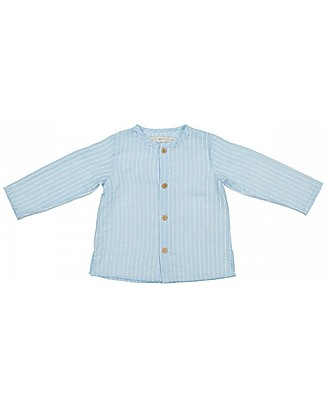 Maria Bianca Long Sleeves Boy Shirt with Wooden Buttons, Light Blue/White Stripes - 100% cotton Shirts And Blouses