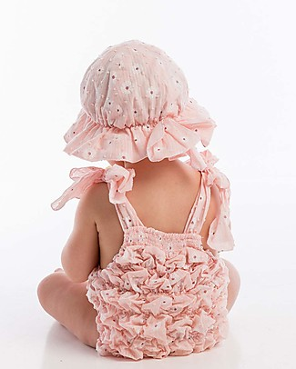 Maria Bianca Plumetti Hat with Bow, Floral Pink - 100% cotton Sunhats