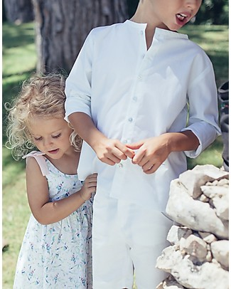 Maria Bianca Shirt with Long Sleeves for Boys, White - 100% Cotton! Shirts And Blouses