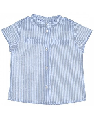 Maria Bianca Short Sleeves Boy Striped Shirt, Light Blue/White - 100% cotton Shirts And Blouses