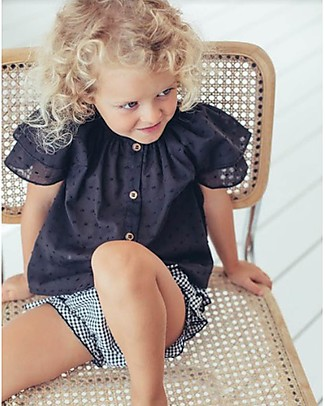 Maria Bianca Shoulder Blouse for Girls, Black - 100% Cotton Special Occasion