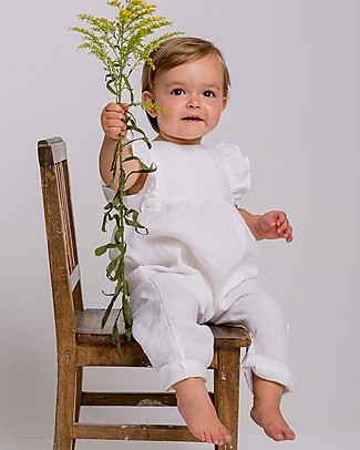 Maria Bianca Sleeveless Overall, White - 100% linen Short Rompers
