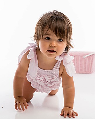 Maria Bianca Smocked Plumetti Bathing Suit with Bows, Pink - 100% cotton Swimsuits