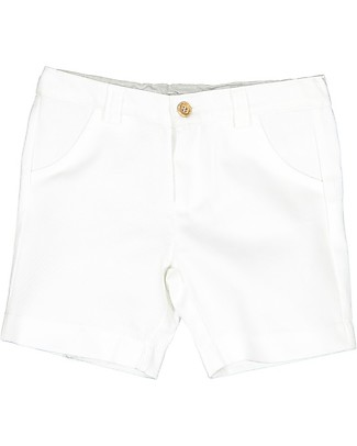 Maria Bianca Twill Shorts with Wooden Button, White - 100% cotton Shorts