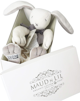 Maud N Lil DouDou Comforter with Gift Box - White & Grey - 100% Organic Cotton! Doudou & Comforters