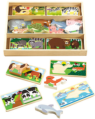 Melissa & Doug Animal Picture Board - 8 Double-Sided Boards & 16 Wooden Animals Puzzles