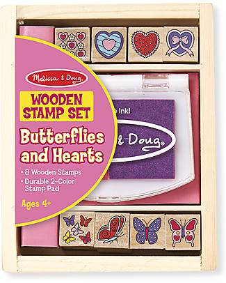 Melissa & Doug Butterfly and Hearts Wooden Stamp Set - 8 stamps Creative Toys