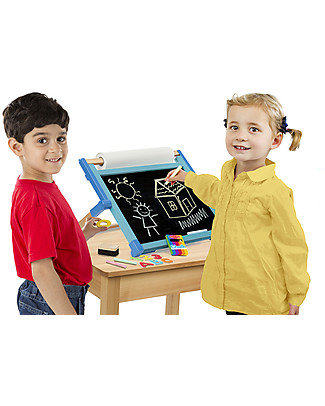 Melissa & Doug Deluxe Double Sided Tabletop Easel, Foldable and magnetic Paper & Cardboard