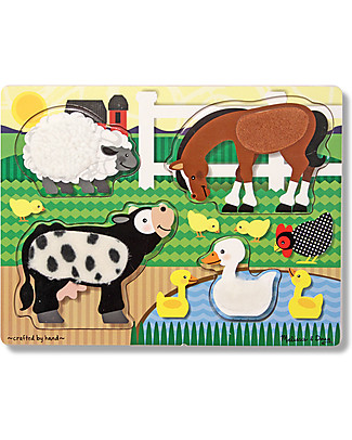 Melissa & Doug Farm Animals Touch and Feel Puzzle, 4 Pieces - Great gift idea! Puzzles