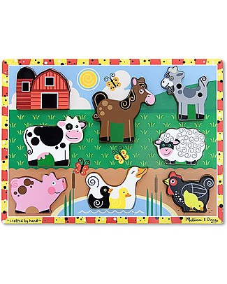 Melissa & Doug Farm Chunky Puzzle, 8 pieces Wooden Stacking Toys