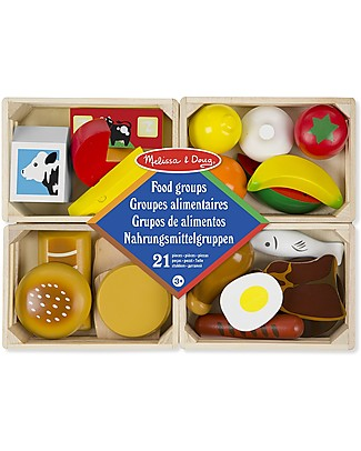 Melissa & Doug Food Groups, Wooden Baskets with Foods - 21-pieces set! Toy Kitchens & Play Food