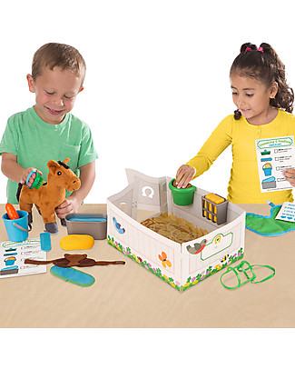 Melissa & Doug Horse Care Play Set Feeding & Grooming - With 23 pieces including plush Horse! Pretend Play