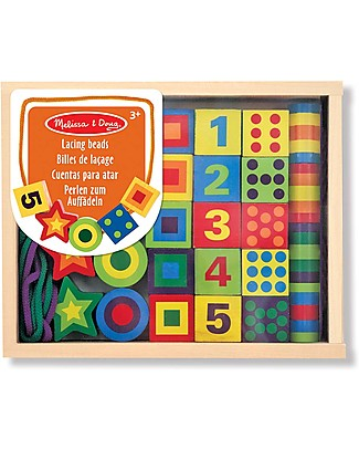 Melissa & Doug Lacing Beads Set, 27 pieces - Improves manual skills! Art & Craft Kits