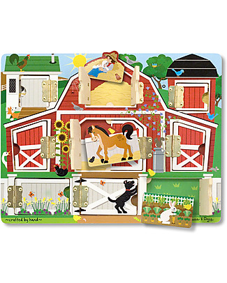 Melissa & Doug Magnetic Farm Hide & Seek Board - with Farm Animals - 9 Pieces Puzzles