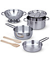 Melissa & Doug Pots & Pans Play Set - Stainless Steel - 8 Pieces Toy Kitchens & Play Food