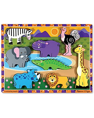 Melissa & Doug Safari Chunky Wooden Puzzle, 8 pieces Wooden Stacking Toys